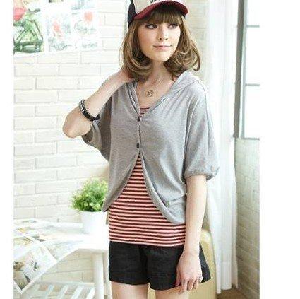 Free shipping Stylish Pure Color Turn-up Button Short Pants Black/Deep Grey/Light GreyQM12091413/QM12091413-2