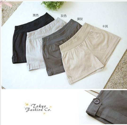 Free Shipping  Stylish Pure Color Turn-up Button Short Pants QM12091413-2