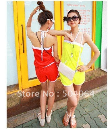 Free  Shipping Stylish Sweet Off-shoulder Color Block Jumpsuit Red   O12091402