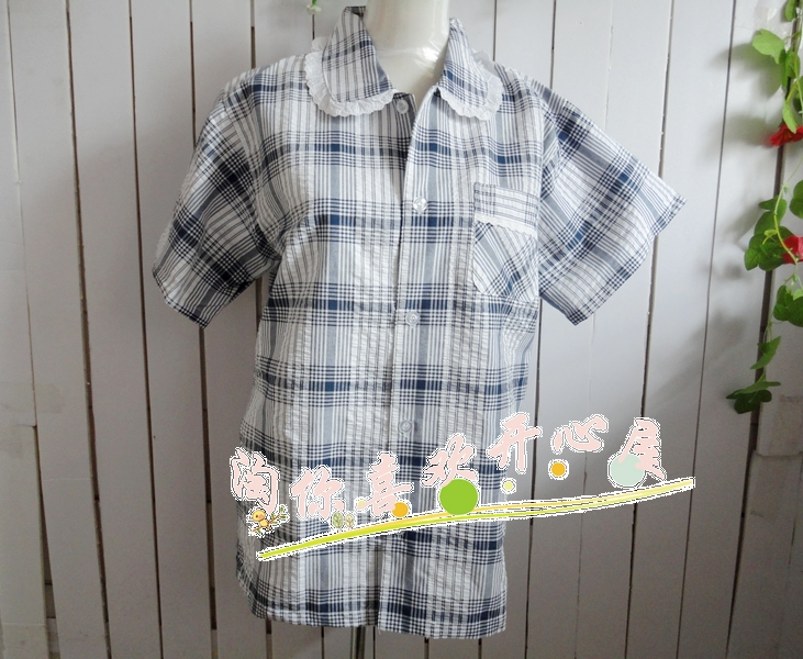Free Shipping Summer bubble women's 100% short-sleeve plaid cotton sleepwear upperwear lounge top Wholesale price