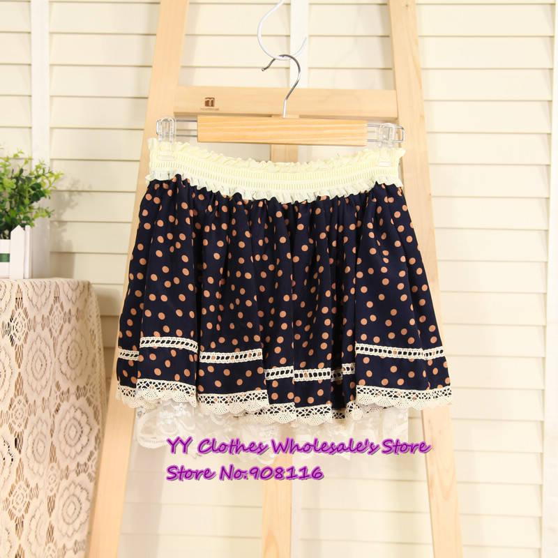 Free shipping,Summer dres new 2013 women casual dot chiffon lace skirts ,ladie dresses,1pcs/lot,X2982