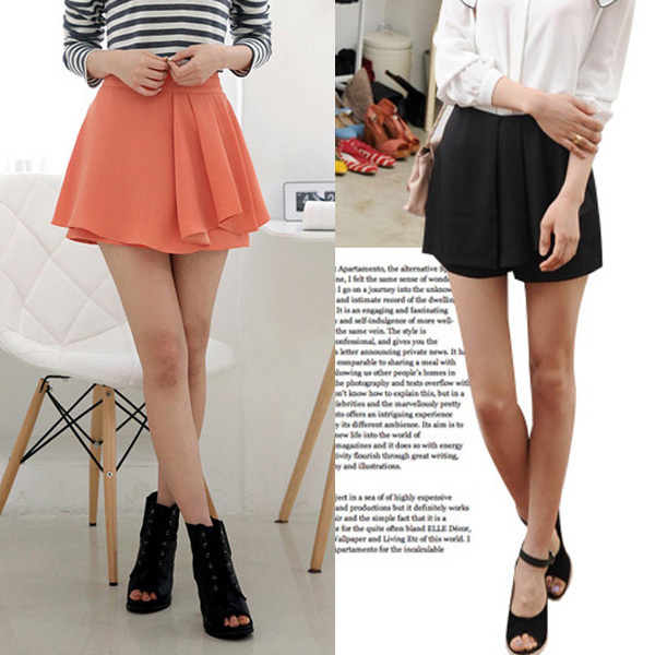 Free Shipping! Summer fashion pleated hot pants shorts skirt W856 Wholesale & Retail Size: S, M, L 2 colors: Orange & Black