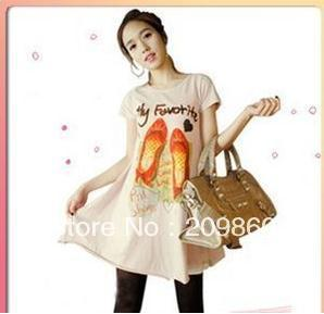 Free shipping ! summer installed pregnant t-shirt new female short-sleeve T-shirt and long sections 1227