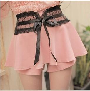 Free shipping-summer lace gauze dot high waist shorts culottes skorts
