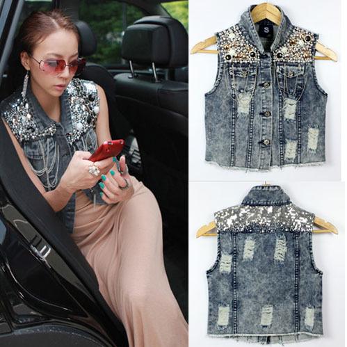 Free Shipping  summer new arrival women's personalized vintage beading paillette denim short vest AD9453VT