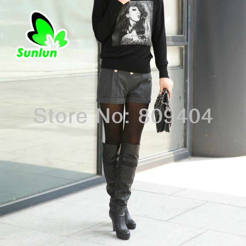 Free Shipping Sunlun Ladies' Fashion Simple Woolen Shorts Women Trousers Four Colors Available SCW-11036