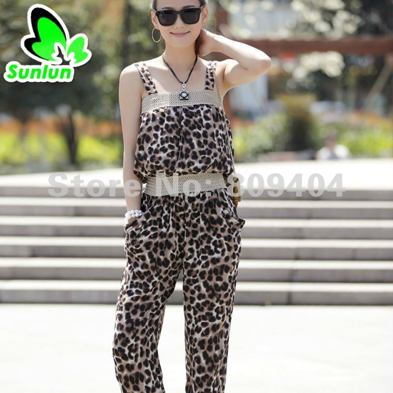 Free Shipping Sunlun Ladies' New Korean Leopard Jumpsuit Suspenders Pants Women Clothing 2012 New Arrival