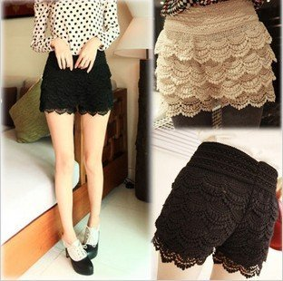 Free shipping Sweet Lace Crochet Flower Shorts leggings / Hot pants Black and beige color lace
