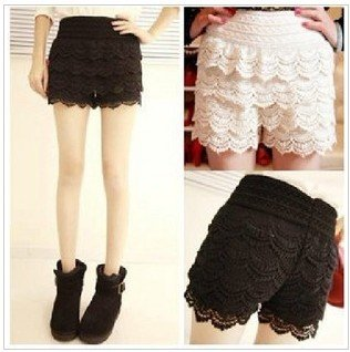 Free Shipping Sweet Lace Crochet Flower Women Shorts Leggings /Pants Black and Beige Color Lace Shorts