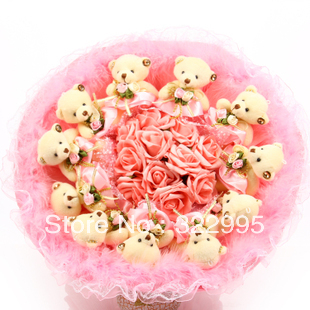 Free shipping sweet rabbit Bear bouquet dried flowers Christmas gifts teddy bear cartoon bouquet W901