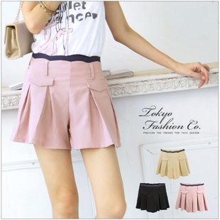 Free Shipping Sweet Style Elegant 2013 New In All Match Women's Shorts Fashion Casual Solid ColorFlouncing Female Shorts