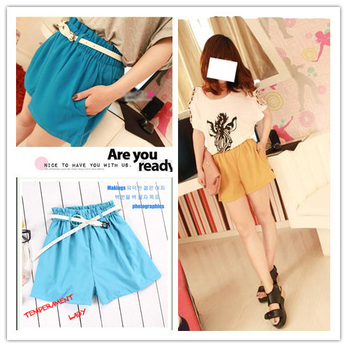 Free Shipping Sweet Style Fashion 2013 Summer New In All-match Women's Shorts Solid Color Korean Style Female shorts With Belt