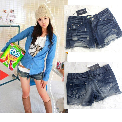 Free shipping Tassel wearing white retro finishing denim shorts 9865 MYYH