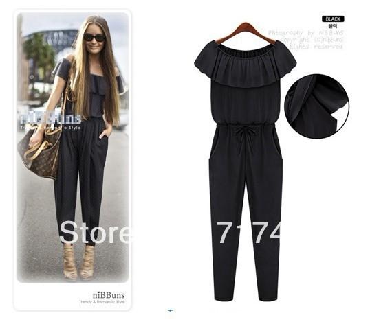Free shipping The 2013 European women's Fashion Chiffon ruffles pants 8209 three color free size
