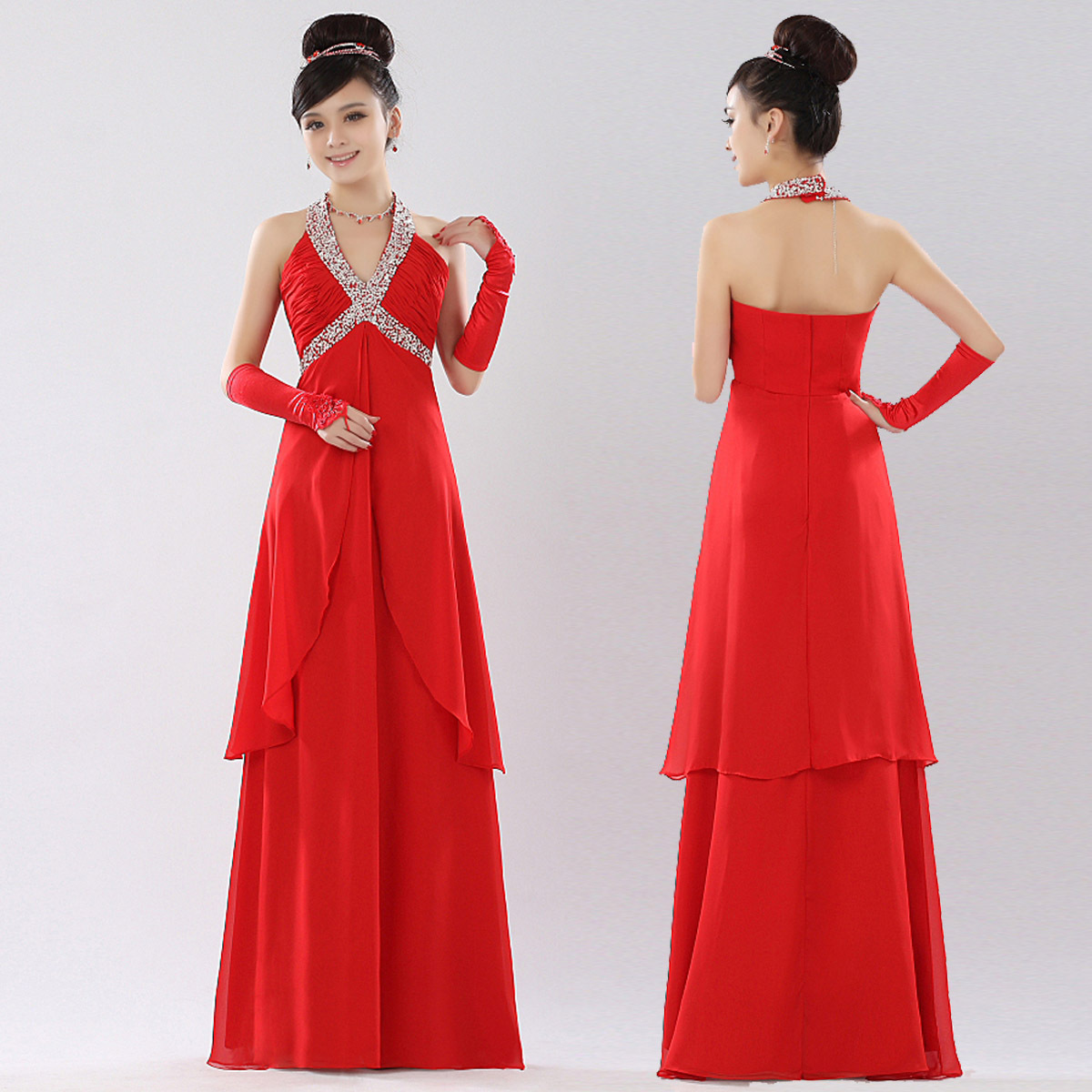free shipping, The bride red qi in wedding married star evening dress l-060