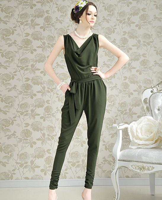 Free Shipping The new Women sleeveless trousers Coverall, green, red