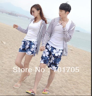 Free Shipping the price of pants blue flowers beach pants women/men shorts of beach style in stock ,men beach short pant