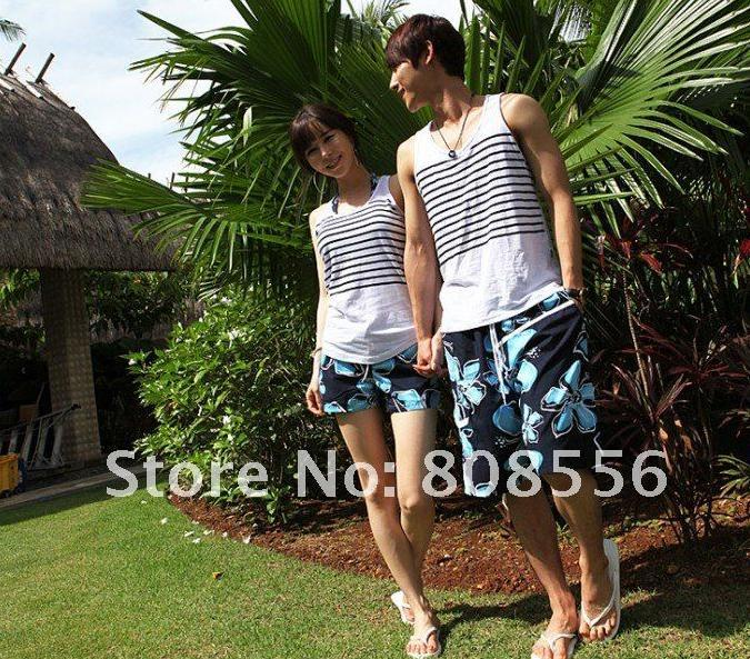 Free Shipping the price of two black and blue flowers couple beach pants women/men shorts of beachstyle lovers trousers in stock