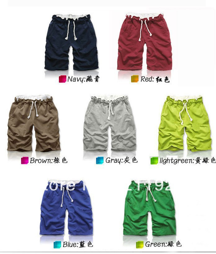 Free Shipping the price of two fire colored stripes couple beach pants women/men shorts of beach style trousers in stock