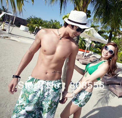 Free Shipping the price of two  green leaf couple beach pants shorts of beach style pants womens/men in stock