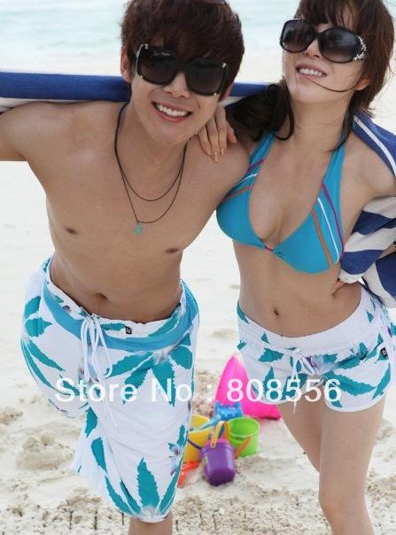 Free Shipping the price of two light blue maple leaf couple beach pants women/men shorts of beach trousers style lovers