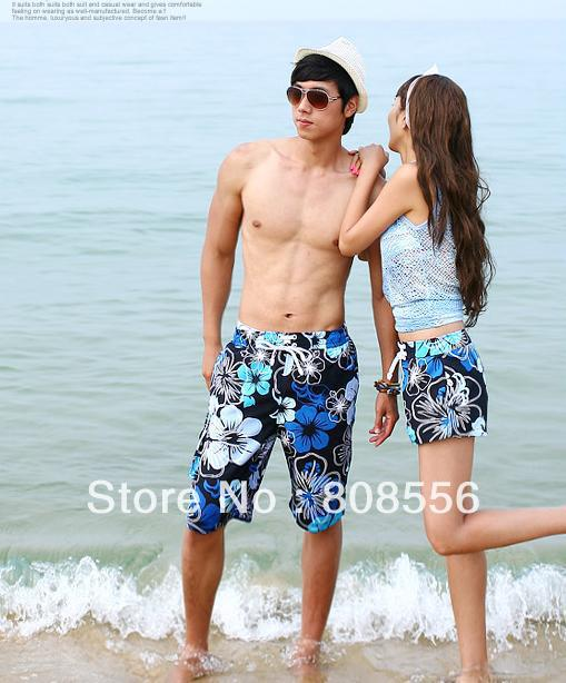 Free Shipping the price of two pants blue flowers  couple beach pants women/men shorts of beach style trousers in stock