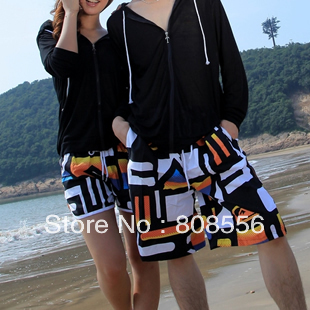 Free shipping the price of two pants new geometric patterns couple beach pants women/men trousers in stock