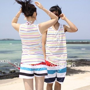 Free Shipping the price of two Stripe couple beach pants women/men shorts of beach  trousers style in stock