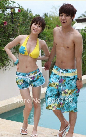 Free Shipping the price of two  trousers sea of flowers couple beach pants women/men shorts of beach style lovers in stock