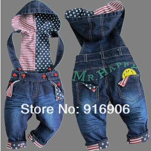 Free Shipping!top quality baby jeans fashion girl/boy denim overalls autumn infant trousers kids hooded braces jeans Retail