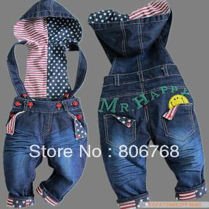 Free Shipping!top quality baby jeans fashion girl/boy Korean denim overalls autumn infant trousers