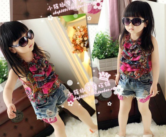 free shipping top quality!summer girls sleeveless top print chiffon ruffle top girls fashion kids girl's vest 5pcs/lot wholesale