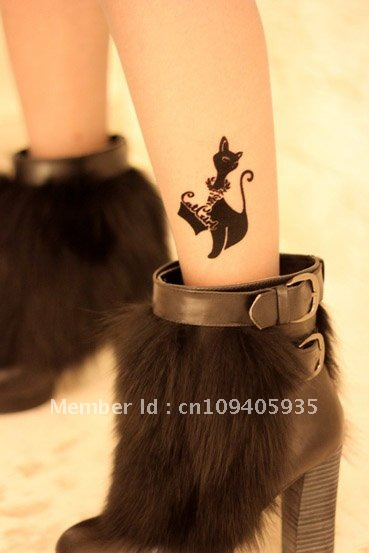 Free Shipping Transparent Ankle Design Ladie's Tights Necklace/Cat/Stars Tatoo Silk Stocking , Jumpsuit,VSexy And Attractive