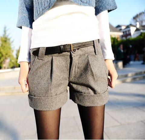 Free Shipping Two Colors 2013 Autumn Winter Women's Turn-Up Straight Boot Cut Plus Large Casual Shorts