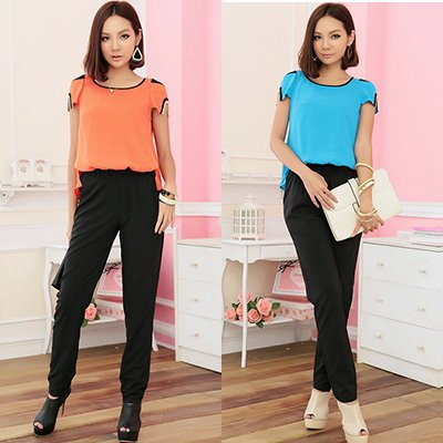 Free shipping two-way jumpsuits for women fashion candy color trousers plus size summer jumpsuit women clothing