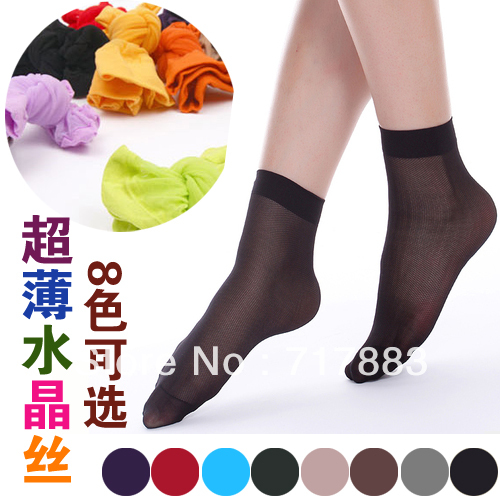 Free shipping ultra-thin silk short stockings women's short stockings/candy color transparent stockings,20pair/lot