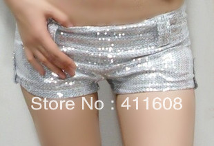Free shipping ultrashort low-rise Sequin shorts stage super flash shorts package hip star with