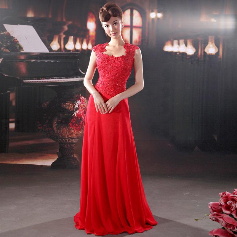 Free shipping Urged bride wedding formal dress long design red evening dress elegant party dress married 880 evening dress