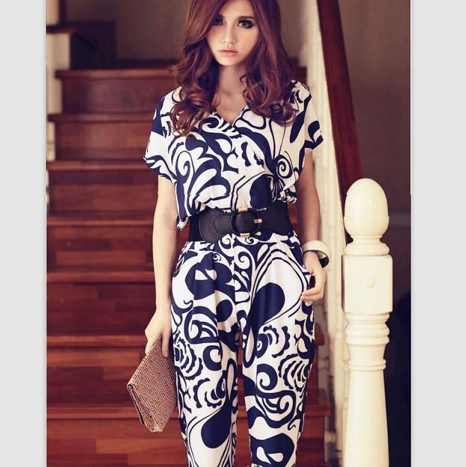 Free Shipping V-neck Flower Printed Silk Short Sleeve Jumpsuits With Belt (Blue/Black)