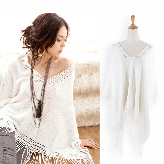 Free shipping W3416 fashion tassel cloak V-neck all-match personality sweater