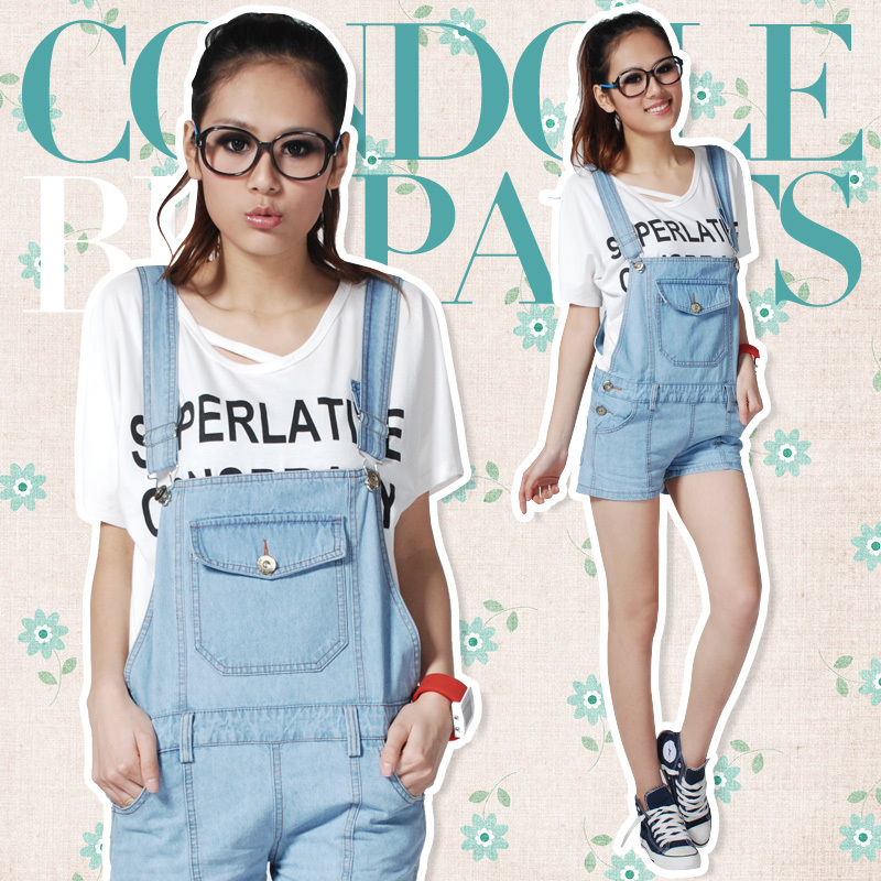 Free Shipping Water Wash  Cotton Denim Ladies'  Overalls Shorts