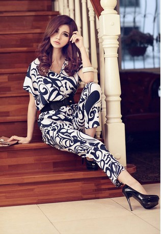 Free Shipping Western Style Fashion Hot Sale Y Collar Short Sleeve Jumpsuit With Belt Blue/Black