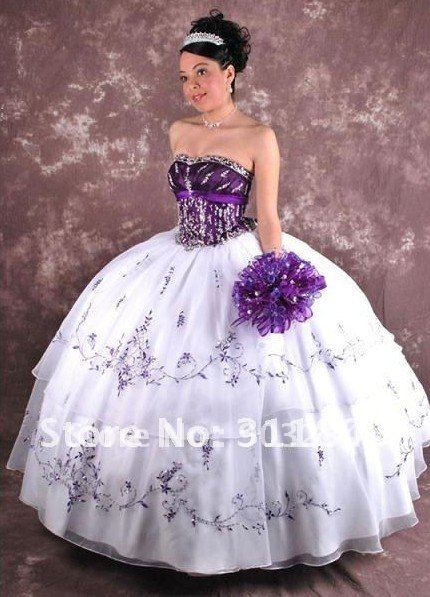 Free Shipping White and Purple Quinceanera Dresses Ball Gown Wholesale/retail Customize Any Size & Color S22063