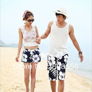Free Shipping white flower beach pants women/men  trousers beach style  lovers shorts