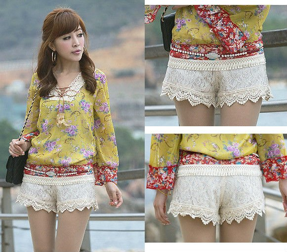 Free Shipping Wholesale 2012 full lace decoration all-match women summer shorts