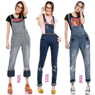 Free Shipping Wholesale 2012 New Fashion Casual Woman Uniform Coveralls Jeans