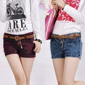 Free shipping,  Wholesale, 2012, spring, summer, new, Korea,  fitted denim, shorts, hot, boots, pants, +belt