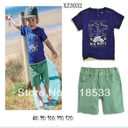 Free Shipping Wholesale 2013 Summer Boys T shirts and Shorts 2pcs Set Children Toddler Cotton Causal Clothing Sets 5sets/lot