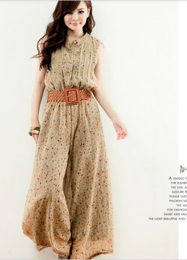 Free Shipping (Wholesale DropShip Retail)Korean Style Stand Collar Sleeveless Chiffon Jumpsuit BlackApricot