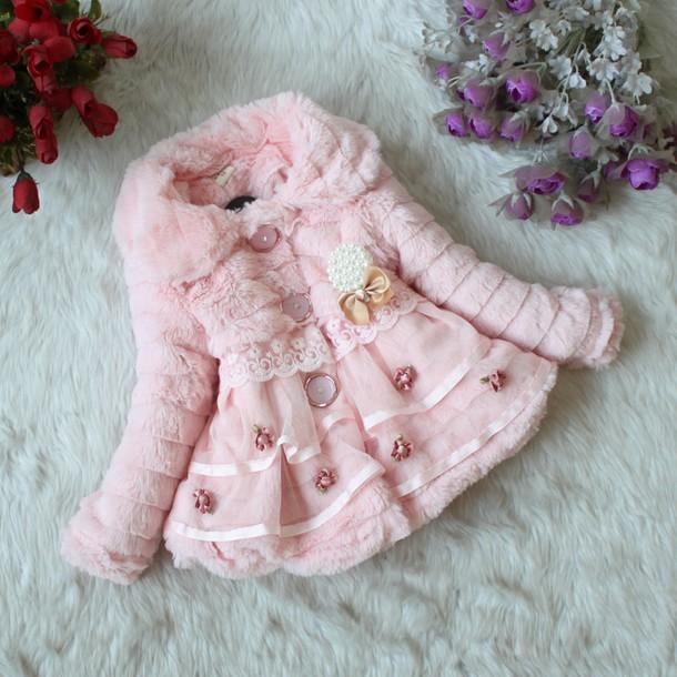 Free Shipping Wholesale Girls Winter Fur Coat Kids Toddler Fashion Flower Outerwear Children Warm Jackets Clothes 4pcs/LOT